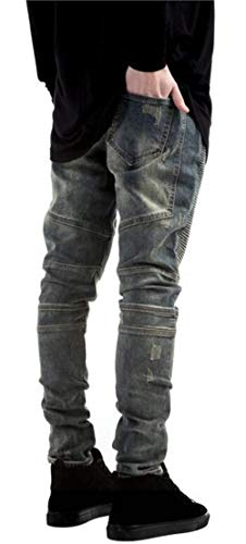 Biker Estilos Color Moda Skinny Hombre Jeans Hole RT Twill 34 Pantalones 11 Blau Denim 9991 Closure Denim Nn Fit Recto Ripped Size aqzwTAfan