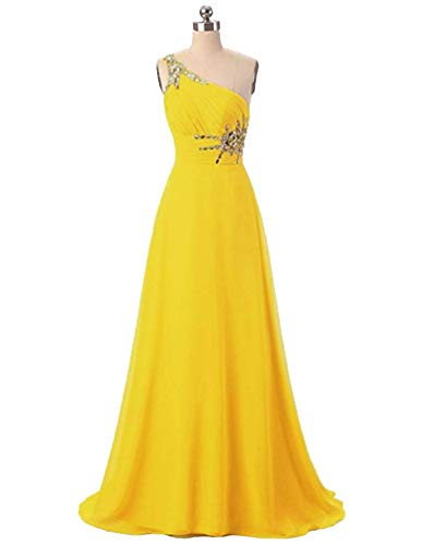 ANGELA One Shoulder Beaded Long Evening Prom Dresses Chiffon Wedding Party Gowns Yellow 8 ()