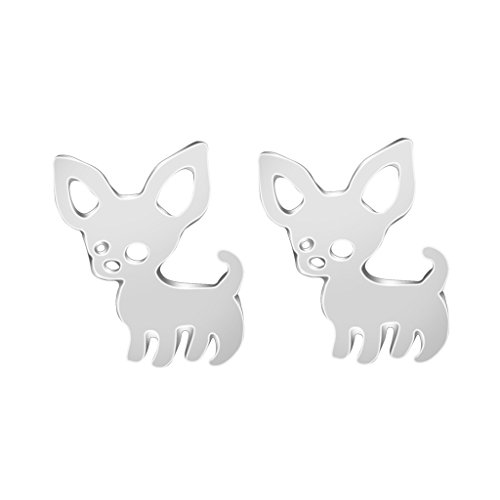 Cute chihuahua stud earrings, silver