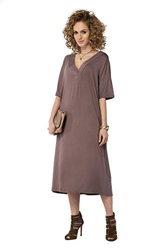 FUTURO FASHION Femmes Robe Mi-longue Col V Longueur Mollet Kimono Tunique FM24 - Cappuccino, EU 46 (XXXL)