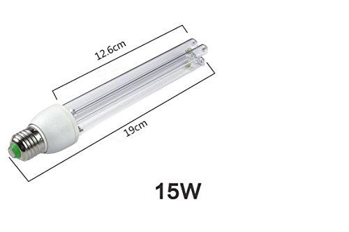 UL E27 15W 20W UV Ozone Sterilization Anti-Bacterial Ultraviolet Disinfection Germicidal Lamp AC220V (15W)