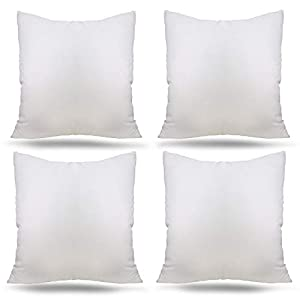 Ogrmar 4 Packs 18″x18″ Premium White Throw Pillow Insert Hypoallergenic High-Resilient PP Cotton Stuffer Pillow Insert Square Form Sham Stuffer Decorative Pillow, Cushion (Set of 4)
