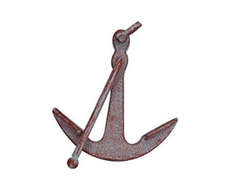 (Hampton Nautical Rustic Red Whitewashed Deluxe Cast Iron Anchor Paperweight 5
