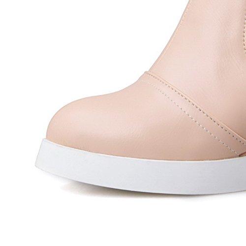 Allhqfashion Womens Assortiment Kleur Pu Hoge Hakken Rits Ronde Gesloten Neuslaarzen Roze