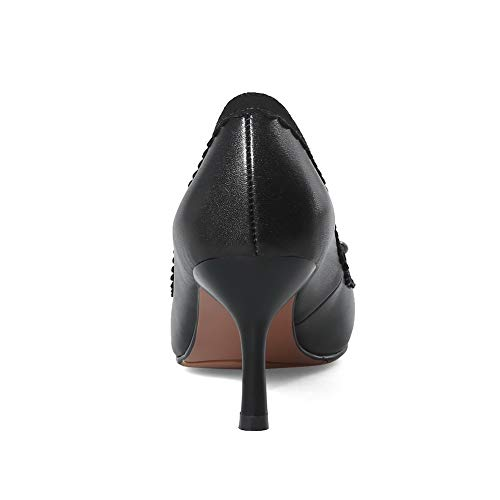 BalaMasa Shoes Womens Pumps Ruched Bows Solid APL11033 Urethane Black rrqFxBz