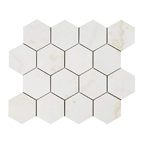 - Diflart New Calacatta Gold 3 Inch Hexagon Marble Mosaic Tile Calacatta Pindos Polished, 5 Sheets/Box (Hexagon 3