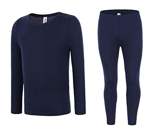 (Bienzoe Men's High Tech Fiber Thermals Long Johns Tops & Pants Set L Navy)