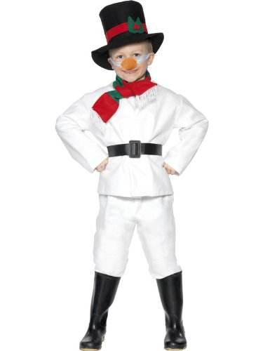 [Childs Snowman Costume With Top,Trousers,Hat,Scarf,Belt And Carrot Nose.30056] (Snowman Costume Hat)