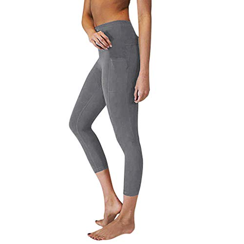 iLUGU Womens High Waist Yoga Pants Yoga Pockets Tummy Work Out Workout Running Sports Pajama Leggings Gray ()