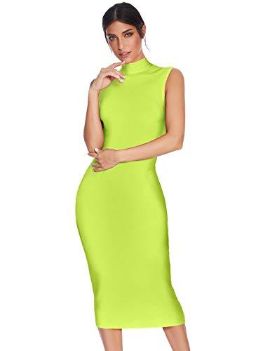 Meilun Women's Knee Length Bandage Dress Bodycon Club Party Dress (S, Neon Green)