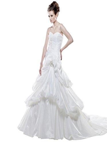 Ausschnitt Weiß Damen Rüsche Herz Handgemachte A Linie Mit Hof Kleidungen Taft Blumen Schleppe Drapiert Dearta cFgUq6Rq
