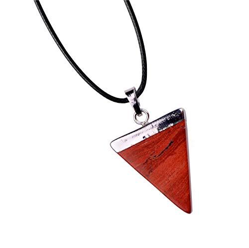 - FidgetKute Natural Quartz Crystal Stone Triangle Point Healing Gemstone Pendant Necklace Red Jasper