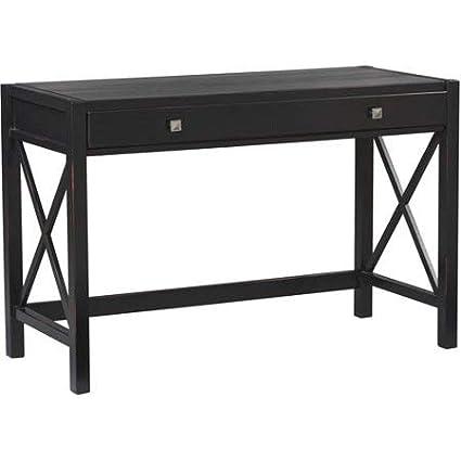 pretty nice c713e 15e6f Amazon.com: Desk, Antique Black, Office Furniture Simple ...