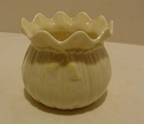 Belleek Vintage Parian China Ribbon Vase or Sugar Bowl 3rd Green Mark Made in Ireland