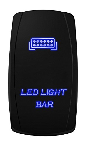 MICTUNING MIC-LSB1 Laser LED Light Bar Rocker Switch ON-Off LED Light 20A 12V, 5pin, Blue