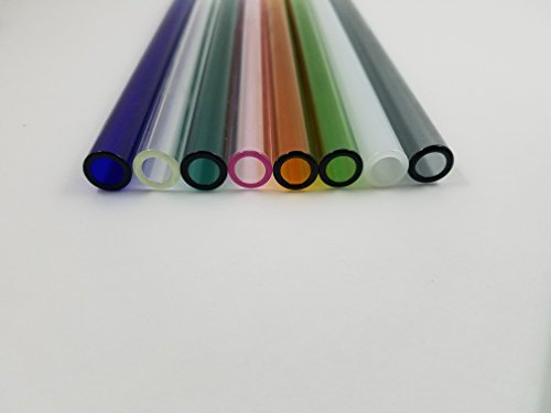 8 Inch 12mm OD 8 Piece Colored Pyrex Glass Blowing Tubes Thick Wall Tubing Art Tube