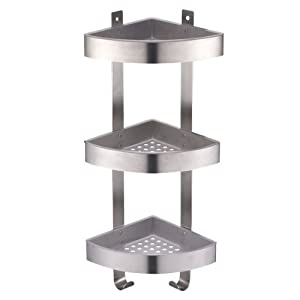 Amazing 3 Tier Corner Shower Caddy With Brushed Chrome Effect | Triple Storage  Basket