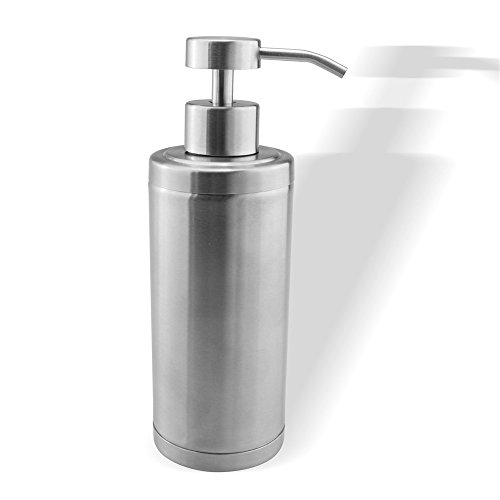 seafulee Refillable 10 Oz Liquid Soap or Lotion Dispenser with Free Rust Double Wall Brushed Nickel Stainless Steel for Bathroom or Kitchen Countertop