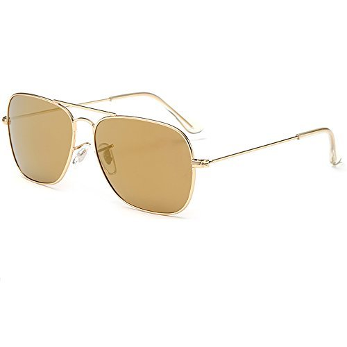 EliBella Polarized Retro Women and Men UV400 protection Sunglasses EL3136 (Gold Frame | Brown Lens, 55)