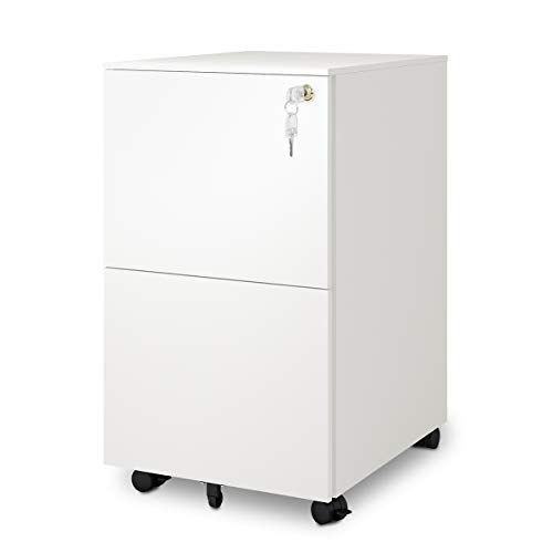 Single Pedestal Extension - DEVAISE 2-Drawer Mobile File Cabinet with Lock, Commercial Vertical Cabinet in White