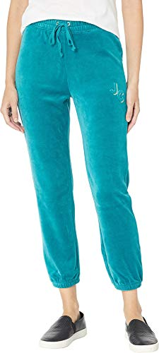 Juicy Couture Women's Juicy Emboss Velour High-Waisted Zuma Pants Castle Green Petite/X-Small 25.5 ()