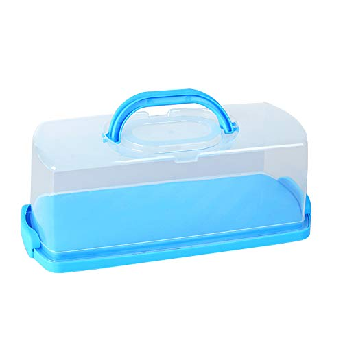 - Portable Bread Box with Handle Loaf Cake Container Plastic Rectangular Food Storage Keeper Carrier 13inch Translucent Dome for Pastries, Bagels, Bread Rolls, Buns or Baguettes
