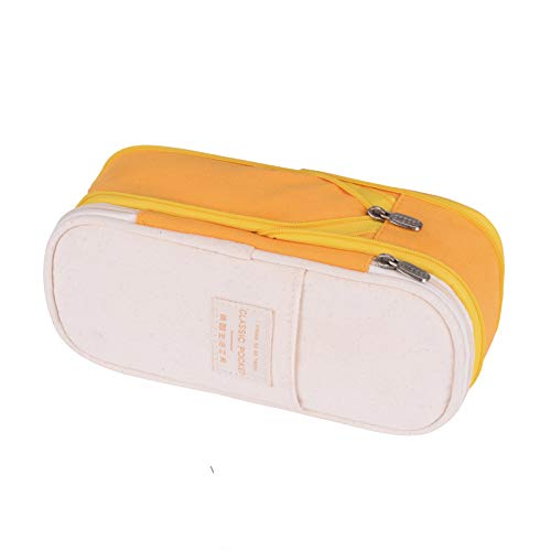 Pencil Case, Big Capacity Extensible Pen Bag Marker Pouch Holder Large Storage Students Stationary Case Zipper Pen Organizer for Middle High School Office College and Art (Yellow)