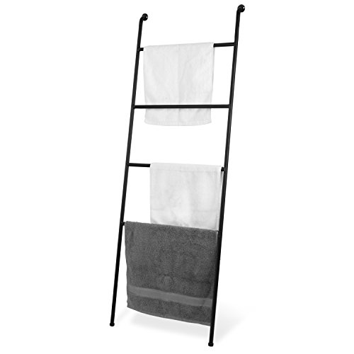 MyGift 4-Foot Wall-Leaning Black Metal Ladder Towel Rack (Bath Wall Valet)