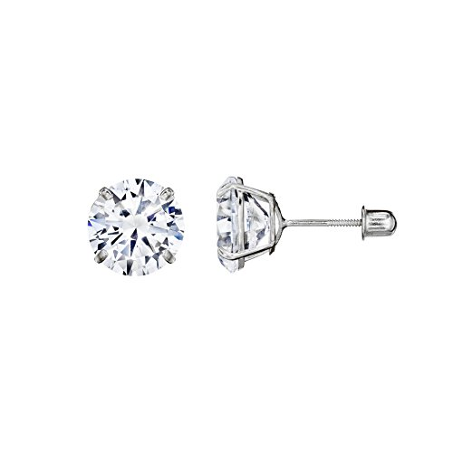 (14kt Solid White Gold Superbright Clear Cz Basket Setting Round Screwback Stud Earrings (5mm))