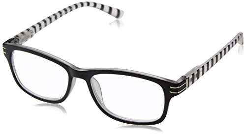Sight Station Women's Evelyn 1016322-125.COM Rectangular Reading Glasses, Black/White, 1.25 (Sight Station)