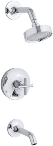 (KOHLER K-T14420-3-CP Purist Rite-Temp Pressure-Balancing Bath and Shower Faucet Trim, Polished Chrome)