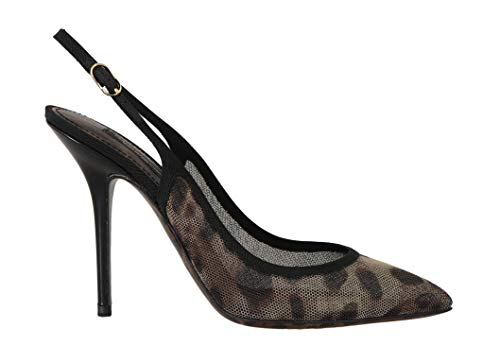 Dolce & Gabbana Brown Leopard Stretch Slingbacks Shoes