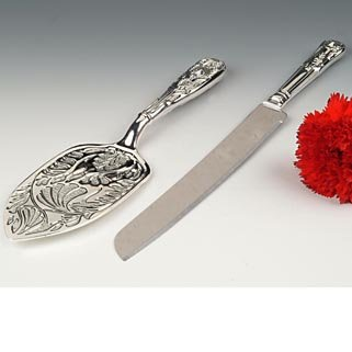 - Wedding Cake Knife and Server, Silver Plated, Made in England