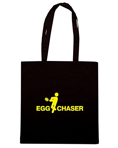T-Shirtshock - Bolsa para la compra WC0268 CLEARANCE - RUGBY T-SHIRT - EGG CHASER Negro