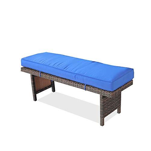 Leaptime Patio Bench Rattan Chair Outside Furniture PE Rattan w/Cushion Outdoor Seating Pool Deck Sofa Brown Rattan Royal Blue Cushion