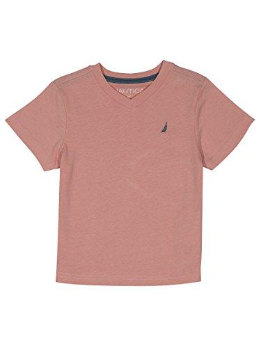 Nautica Boys' Big Short Sleeve Solid V-Neck T-Shirt, Strait Peach, Large (14/16) (Peach Shirt For Boys)