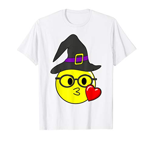 Funny Halloween Emojis Witch with Glasses Kissing Nerd Face]()