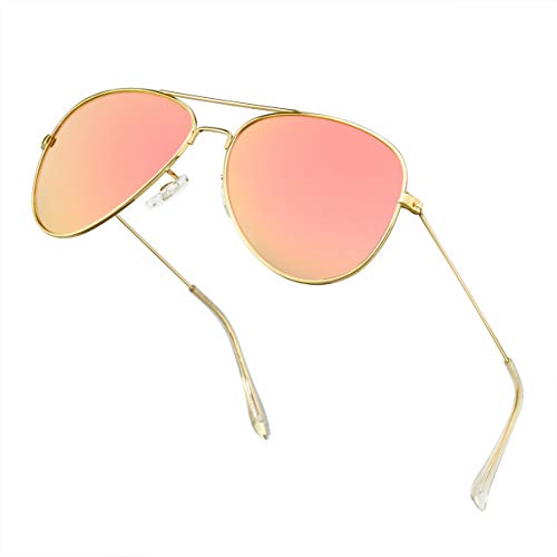 Polarized Sunglasses for Men Metal Mens Sunglasses Driving Unisex Classic Sun Glasses for Men/Women Pink