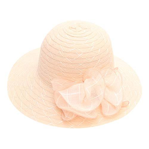 (hositor Kentucky Derby Hats for Women, Ladies Organza Church Kentucky Derby Fascinator Bridal Tea Party Wedding Hat Pink)