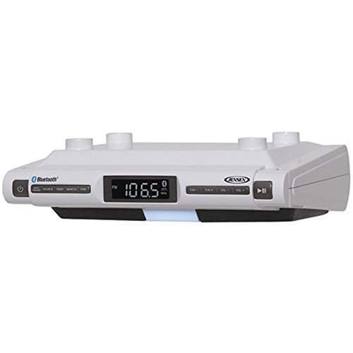 Jensen Bluetooth Wireless Under the Cabinet Kitchen Clock Radio Music System