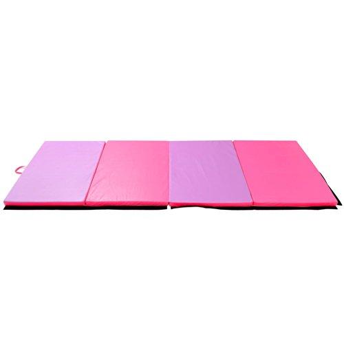 Soozier PU Leather Gymnastics Tumbling/Martial Arts Folding Mat, Pink/Purple, 4 x 10' x 2'