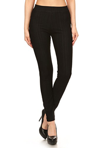 Leggings Depot Premium Quality Jeggings Regular and Plus Soft Cotton Blend Stretch Jean Leggings Pants w/Pockets (One Size (Size 0-12), Black) by Leggings Depot (Image #1)