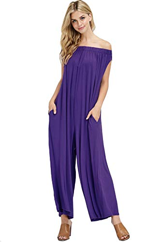 Violet Jumpsuit - iconic luxe Women's Oversized Off-Shoulder Jumpsuit with Pockets Large Violet