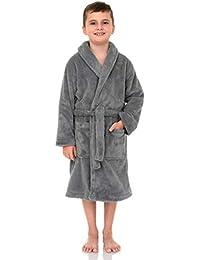 TowelSelections Big Boys' Robe, Kids Plush Shawl Fleece Bathrobe Size 8 Alloy