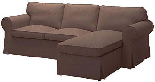 Sofa Cover Only! The Heavy Cotton Ektorp Loveseat (2 Seater) with Chaise Lounge Cover Replacement is Custom Made for IKEA Ektorp Sectional 3 Seat (Three) Sofa Slipcover. Cover Only! (Coffee)