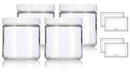 Straight Sided Glass (Large Clear Thick Glass Straight Sided Jar with White Foam Lined Lid - 16 oz / 480 ml (4 pack) + Labels)