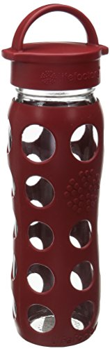 Lifefactory 22-Ounce BPA-Free Glass Water Bottle with Leakproof Cap & Silicone Sleeve, Red