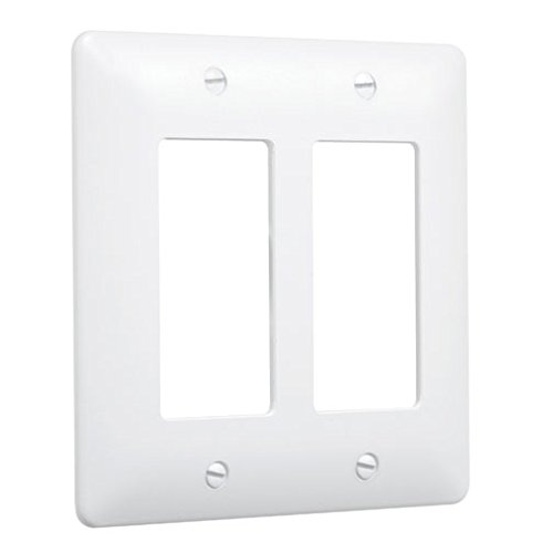 Series Wall Plate - Taymac 5500W Paintable Masque Wall Plate Cover, White, 2-Gang