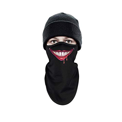 Women Men Winter Windproof Halloween Stencils Zombie Mouth Blood Half Face Mask Skiing Thermal Cute face -