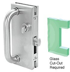 CRL 4''x10'' Non-Handed Polished Stainless Finish Center Lock with Hook Throw Deadlock Latch